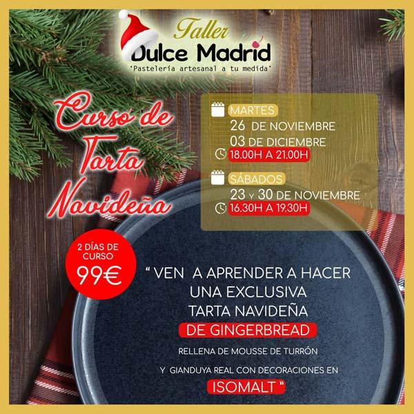 cartel del curso de tartas navideñas de Dulce Madrid