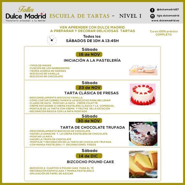 Cartel del primer nivel de la escuela de tartas de Dulce Madrid