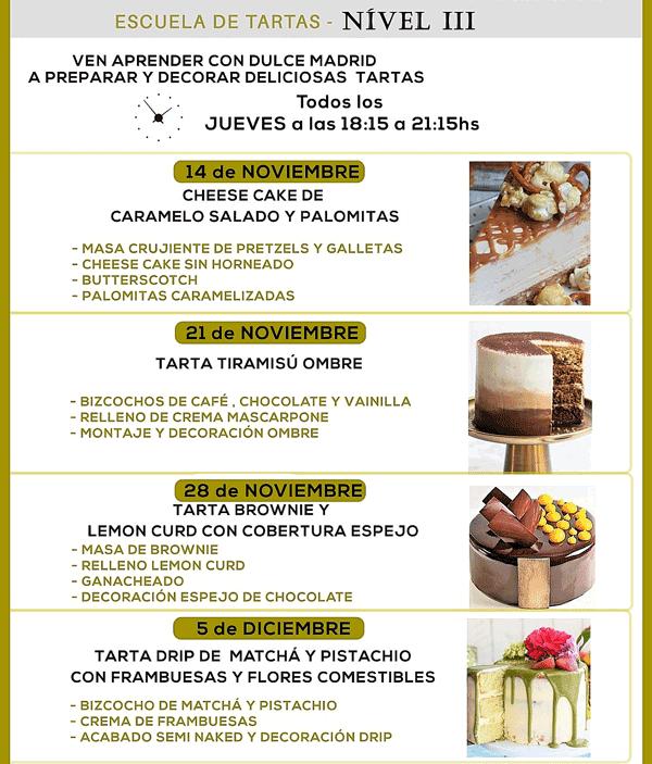 Tartas que se elaborarán en la Escuela de Tartas nivel 3 de Dulce Madrid