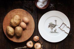 Plato con ilustración de avestruz para regalar a un cocinero