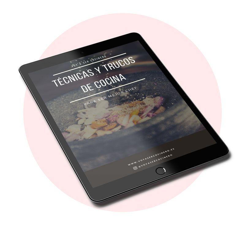 Portada en tablet del ebook de tecnicas y trucos de cocina